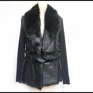 INC Black Faux Fur Leather Sweater